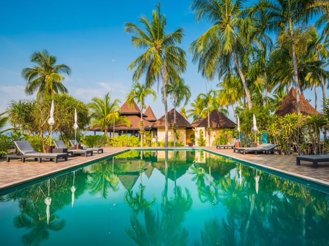 Ko Muk (Ko Mook), Trang Province, Thailand. Bungalows and swimming pool at Sivalai Beach Resort (PR).